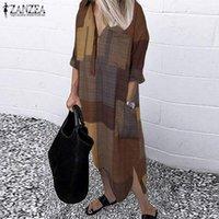 Sonbahar Çek Ekose Gömlek Elbise Zanzea Rahat Vintage Uzun Kollu Sundress Kadın Yaka Çalışması Vestidos Kadın Robe Artı Boyutu Elbiseler