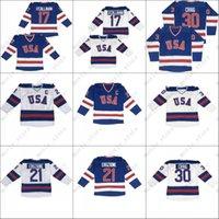 1980 Olympisches Spiel USA Team Jersey # 17 Jack O'Callahan 21 Mike Eruzione 30 Jim Craig Hockey Trikots Stickerei und genäht