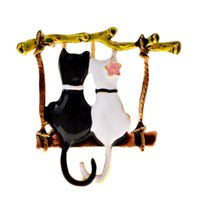 Pins, Brooches CINDY XIANG Cute Couple Cats For Women And Men Enamel Cartoon Swinging Cat Animal Brooch Pins Party Casual Jewelry