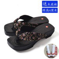 sandals summer clogs, herringbone slippers, women's slope high heels, foot clamping cool burning Tung wooden shoes, couple bathroom
