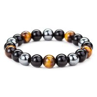 Beaded, Strands Natural Obsidian Hematite Tiger Eye Beads Bracelets Men Fashion Magnetic Healing For Women Jewelry Gift Pulsera Hombre