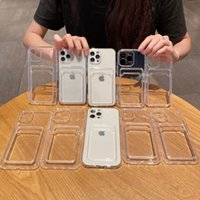 Four Corner Credit ID Card Slot Pocket Transparent Cases Shockproof Clear TPU Camera Lens Protection For iPhone 13 12 Mini 11 Pro MAX 8 7 Plus