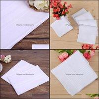 Textiles Home Gardenpure Blanc HankerCiefs 100% coton Table masculine Satinboats Satin Homme costume Hou de poche Houchon carré Blight 100pcs / Lot