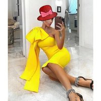Party Dresses Yellow Satin Short Prom Dress One Shoulder Tea Length Homecoming Princess Women 2021 Gowns Plus Size