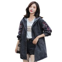 Women's Trench Coats Hooded Denim Coat Women Spring Autumn Clothing Fashion Embroidery Casual Top Female Plus Size M-5XL Jeans Outerwear G65