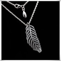 Glitter Feather Necklace 925 Sterling Silver for Pandora Jewelry Fashion High Quality Elegant Ladies Necklace with Original Box 271 T2
