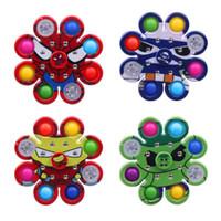 LED Lumineux Tie-Dye Graffiti Gyro Push Simple Dimples Jouets Plus 6-8 côtés Doigt Jeux Jeu anti-stress Spinner Coloré Rotation en gros XZ16988