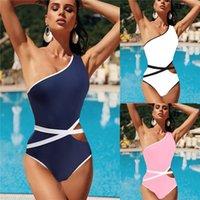 Bikini de estilo de explosión Bikini de una pieza traje de baño EUROPEO Y AMERICANO Cinturón de personalidad estadounidense Bikini de un solo hombro Traje de baño de una sola pieza.