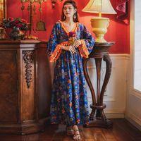 Jastie Hippie Chic Pom Tassel 민족 보헤미안 드레스 긴 소매 V 넥 여성 Maxi Dresses 캐주얼 해변 여성 Vestidos 210419