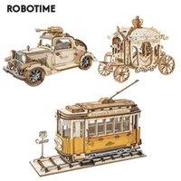 Robotime 3 tipos DIY Transporte 3D Modelo de madera Kits de construcción Vintage Car Tramcar Carriage Regalo para niños adulto 210923
