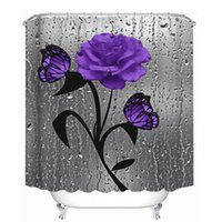 Water Purple Flowers Print Bathroom Curtains Set Flower Butterfly Leaf Shower Curtain Non-Slip Rug Toilet Cover And Bath Mat