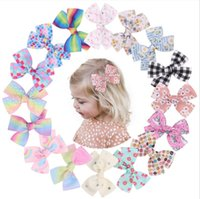 16 Colors Girl Mini Hair Bows 4.4 inch Bow Flowers Design Baby Girls Elegant Clippers Kids Accessory