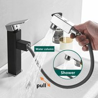 Pull Out Bathroom Sink Faucet Cold Water Mixer Aerator Tap Up And Down Outlet Mode Basin Faucets Home Shower