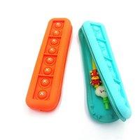 EU estoque novidade brinquedo arco-íris de silicone empurrar ele bolha lápis saco caso festa festa simples covinho dedo brinquedos descompressivos alívio escola interativa bolsas