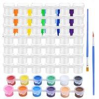 Tintas vazias tiras 150 potenciômetros 5ml copo plástico recipientes de armazenamento claro com 4 pcs escovas conjuntos de presente