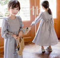 2021 Autumn girls stripe long dresses kids falbala sleeve Bows belt princess dress fashion children clothings Q0261