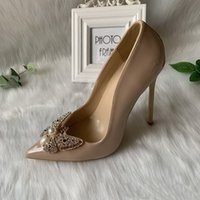 Fashion Women Shoes Sexy Lady Nude Red Patent Leather bee Crystal Strass Point Toe Bride Wedding Shoe High Heels 12cm 10cm 8cm Party