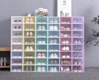 12-24 piezas de caja de caja de zapatos Cajas de almacenamiento transparentes plegables plástiles Clear Door Home Closet Organizer Case Estantería Pantalla Pila 88212030