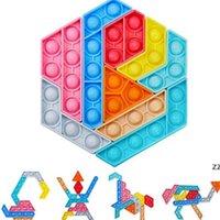 DHL Rainbow Color Push Bubble Bubble Tangram Puzzle Toys Sensory Fidget Burbujas dedo Miembro De Finger Padre Niño Juego Formas Cambiando HWD8473