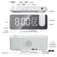 FM Radio LED Montre de réveil intelligent numérique pour chambre à coucher Table de bureau électronique horloges USB réveil horloge avec projection GWF10459