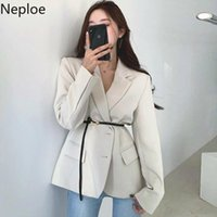 Women's Jackets Neploe French Chic Elegant Lapel Ladies Coat Single-breasted Long Sleeve Jacket 2021 Simple Fashion Solid Color Top Women
