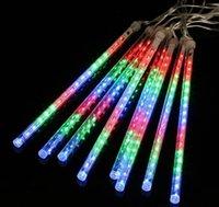 LED 가벼운 스틱 멀티 컬러 13.1ft 유성 샤워 비 튜브 8 크리스마스 조명 웨딩 파티 가든 크리스마스 Stringoutdoor 실내 장식