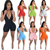 Women plus size Jumpsuits Rompers summer clothes deep-v neck sexy club shorts leggings sleeveless cycling yoga wear running bodysuits fashion fitness joggers 01616