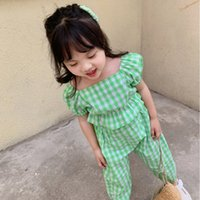 Summer Kids Girls Clothing Sets Toddler New Summer Girl Plaid Printed Floral Tops with Pants Suit Children 2PCS Clothes Outfits 2134 Q2