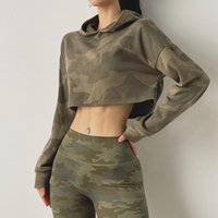 Yoga Outfits Autumn Camouflage Sports Tops For Gym Women Long Sleeve Fitness T Shirts Loose Hooded Activewear Exercise Running T-shirts