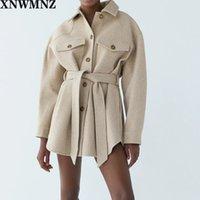 Xnwmnz za mujer 2021 Moda con cinturón suelto chaqueta de lana abrigo vintage manga larga bolsillos laterales femenino ropa exterior elegante abrigo