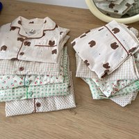 2021 Summer New Kids Pajamas Korean Print Suit for Boys and Girls Casual Cotton Sleepwear