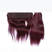 Прямо # 99J вина красный бразильский человеческие волосы плетения с кружевами фронтальные 4 шт. Лот бордовый 3 со с 13х4 полное кружевное лобное закрытие