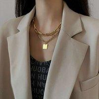 Другие толстые квадратные преувеличения бренд металлический двойной слой ожерелье воротник костной цепь женщина