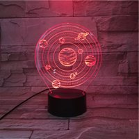 Solar system 3D Night Light ,Touch 7 Colors Change, Optical Illusion LED Lamp USB Table Desk Lighting Kids Toy Bedroom Decor Xmas Holidays Birthday Gifts Boy Gir