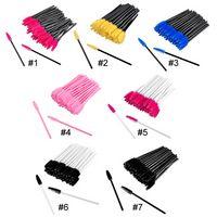 Großhandel Kosmetische Bürste Make-up-Werkzeuge 50pcs / lot Wimpernbürsten für Wimpernverlängerung Hohe Qualität Kosmetische Bürsten Bunte Bürsten