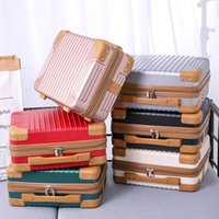 Duffel Bags Hand Luggage Suitcase Storage Bag Cosmetic Case Light Mini Retro Portable Handle Quality Zipper Elastic Strap Polyester Lining