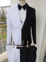 Wedding Tuxedos Design Batman Two Faced Costume Men Paisley Prom Suits Three Pieces Business Suit Groom (Jacket+Pants+Vest+Tie) W1234