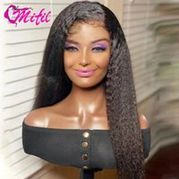 Lace Wigs 180Density Kinky Straight Front Human Hair Women Remy Peruvian Yaki Wig 4x4 Closure