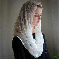 Velo da sposa 2021 Avorio Nero Matrimonio Capo Musulmano Ladies Scialle in pizzo Scarpa Mantilla per la Chiesa Velo Cattolico