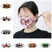 Máscaras de festa Engraçado Halloween Abóbora Crânio Palhaço Imprimir Crianças Adutls Dustproof Anti-Fog Máscara com PM2.5 Filtro Máscaras laváveis Ins {Categoria}