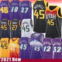 Donovan 45 Mitchell Rudy 27 Jersey de basketball Gobert Karl 32 Malone Jean 12 Stockton Mike 10 Conley Utahle jazz2021