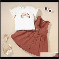 Sets Baby Baby, & Maternity Drop Delivery Girls Rainbow Top+Vest Dresses Set Sumner 2021 Kids Boutique Clothing 2-6T Children T-Shirt Dress 2