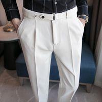 Men's Suits & Blazers 2021 Suit Pants Solid Color Casual Business Dress Slim Trousers Quality Classic Groom Wedding