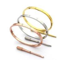티타늄 스틸 러브 로즈 골드 스크류 팔찌 팔찌 4mm 좁은 스타일을위한 스크루 드라이버가있는 팔찌