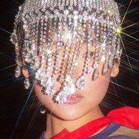 Fashion Luxury Flash Crystal Rhinestone Tassel Headband Wedding Party Jewelry Chain Bridal Hat Accessories Jewel Hair Clips & Barrettes