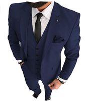 Navy Blue Body Taxedos 2021 Groom Trajes Groomsmen Best Man For Young Man Trajes de baile (chaqueta + pantalones + corbata) Cena de cena a medida.