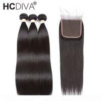 Предварительно цветные перуанские прямые волосы с закрытием Remy Человеческие волосы Weaves 3 пучка с закрытием Натуральный черный цвет Hcdiva волос