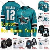 2020-2021 San Jose Sharks Hockey Jerseys 19 Ozzy Wiesblatt 12 Patrick Marleau 83 Matt Nieto 6 Ryan Donato 사용자 정의 남성 여성 청소년 스티치