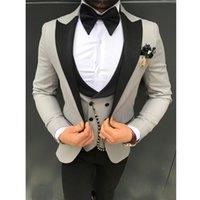 Classic One Button Wedding Tuxedos Peak Lapel Slim Fit Suits For Men Groomsmen Suit Prom Formal (Jacket+Pants+Vest+Tie) W808