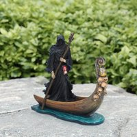 Decorative Objects & Figurines Black Man Rowing Boat Sculpture Resin Outdoor Garden Home Figure Figurine Furnishing Living Room Statue Decor